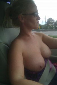 Driving with boobs out