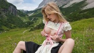 Austrian girl in the mountains
