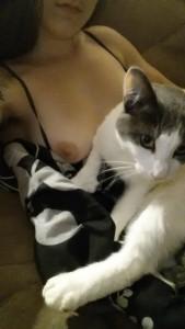 Kitty on my titties (f)