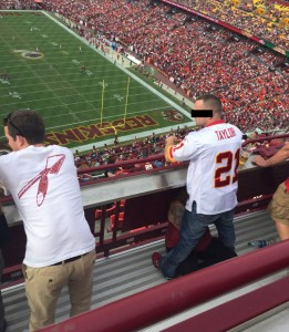 He held the moan (Fellatio at Redskins Game)