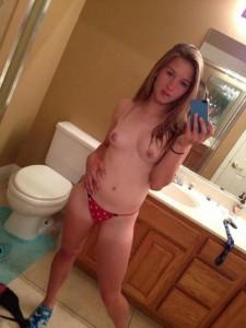 Polka dot panties and nice titties