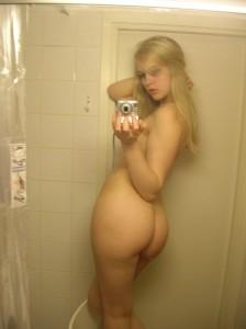 Blonde Shower Selfie