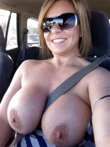 Huge car boobies