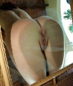 Nice ass plus a glass wall.