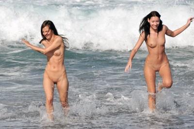Cute girls at the beach