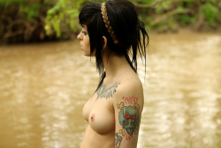 Tatted girl being sexy by the river