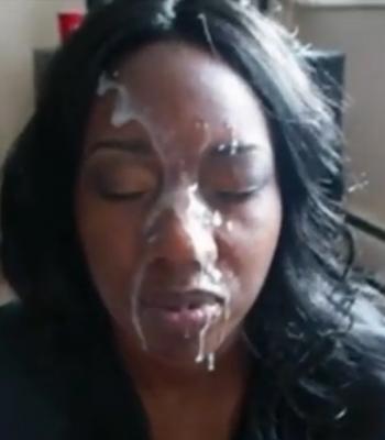 Huge facial for hot black girl.