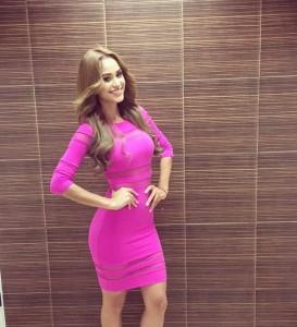 Yanet García - Pink see through stripes bodycon dress