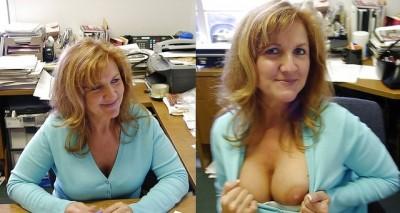 Milf Boob Peek in the Office