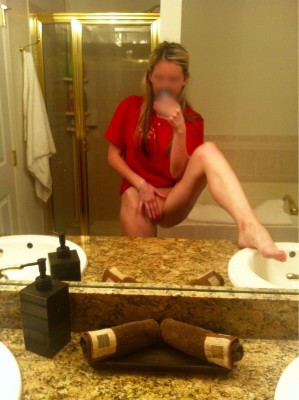 My slutty wife showing off her dirty little pussy in a mirror self shot
