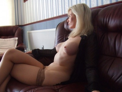 Blonde milf in stockings