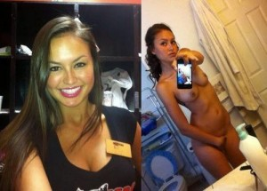 Hooters girl on and off