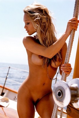 Babe on a boat