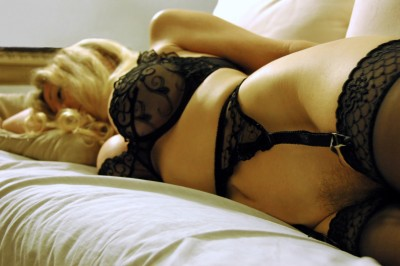 Milf in black lingerie and stockings