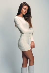 Brunette in a white sweater dress