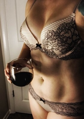 [F]antastic red wine and new lingerie makes for a perfect snow evening
