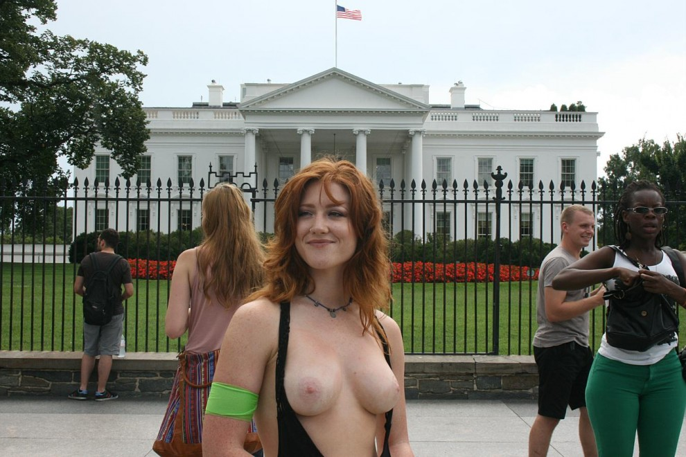 Redhead Protester Outside White House!