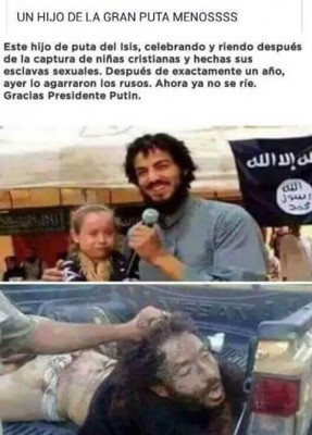ISIS leader celebrating the capture of Christian girls which will become his sex slave. This is him after the Russians capture him.
