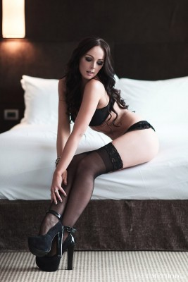 Black Lingerie and Heels