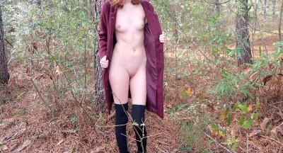 Itty titties in the woods (f)