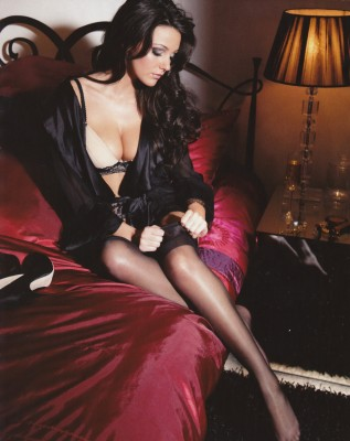 Michelle Keegan in stockings.
