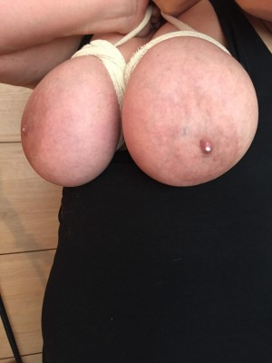 My sexy wife's milky tied boobs.