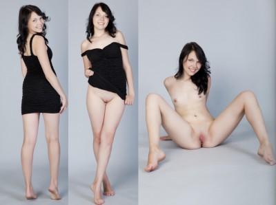 Pretty girl in a black dress