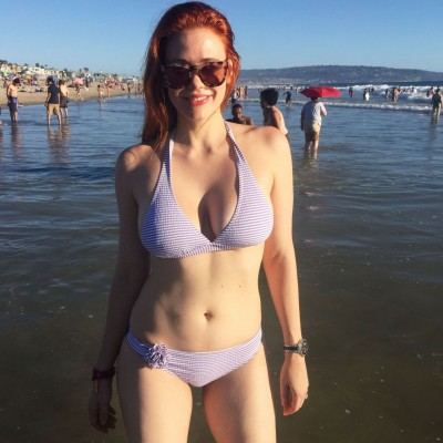 Redhead at the beach