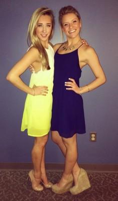 Yellow dress. Purple dress.