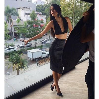 Bárbara Islas - Black laser cut skirt