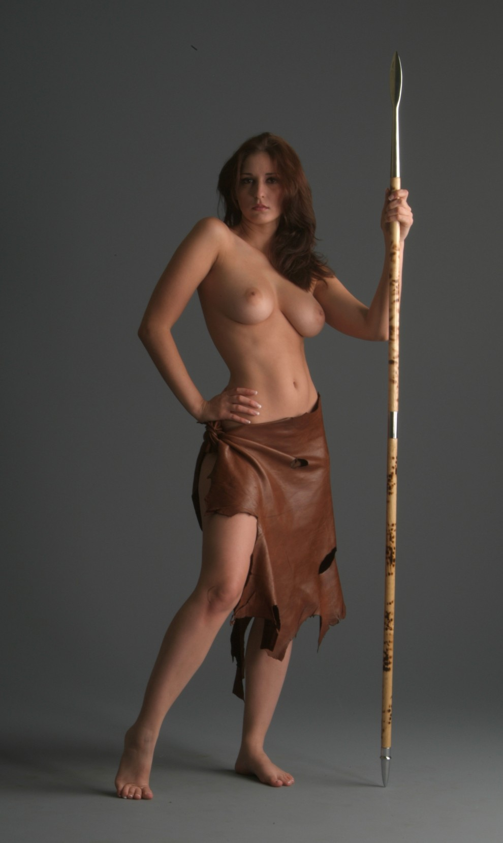 Cute dark skin female warrior sword nude  sexy image