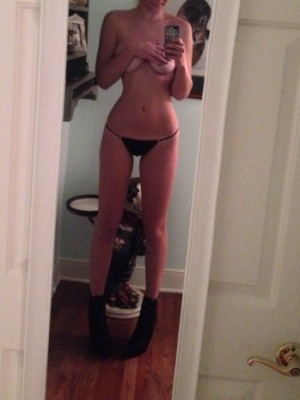 Black thong and boots