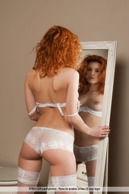 Curly hair and white lace