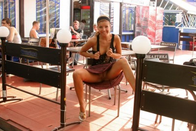 Flashing Pussy at a Table in Public