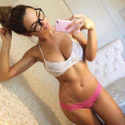 Hot chick with glasses selfie
