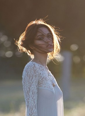 Just the top of a white lacy dress - Melody Le