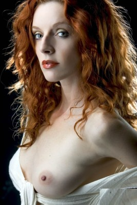 Redhead with a boob out