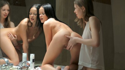 Rubbing her on the bathroom counter