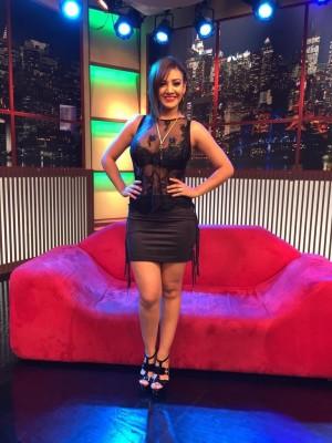 Srita. Pitazo - Black miniskirt + see through top