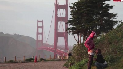 A couple of tourists suck and fuck near the Golden Gate Bridge