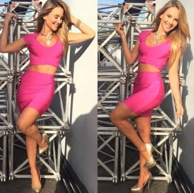 Ximena Córdoba - Pink bandage skirt & top