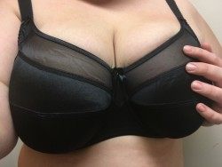 Got a new bra. It's a bit snug. Perhaps an H cup would have fit better...