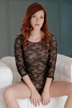 Hot redhead Mia Sollis in sheer dress