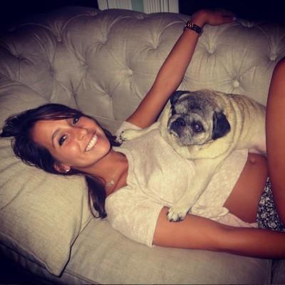 Lying with her dog (xpost /r/croptopgirls)