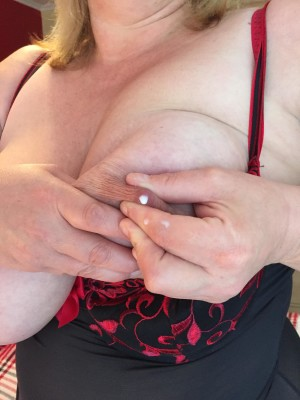 My wife has milky boobs.