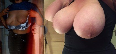 My wife's boobs when she was 21 then a 34B and now 40F