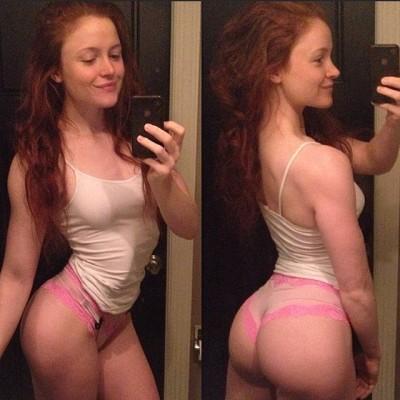 Redhead selfie shows amazing body
