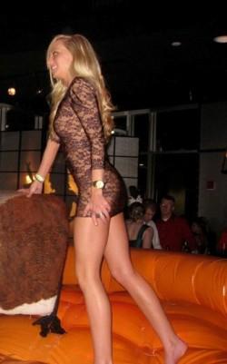 Blonde in tight dress