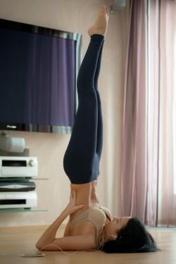 Doing yoga in a bra