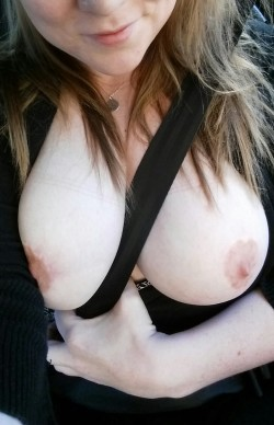 I love showing off my heart shaped nipples even when I'm driving.